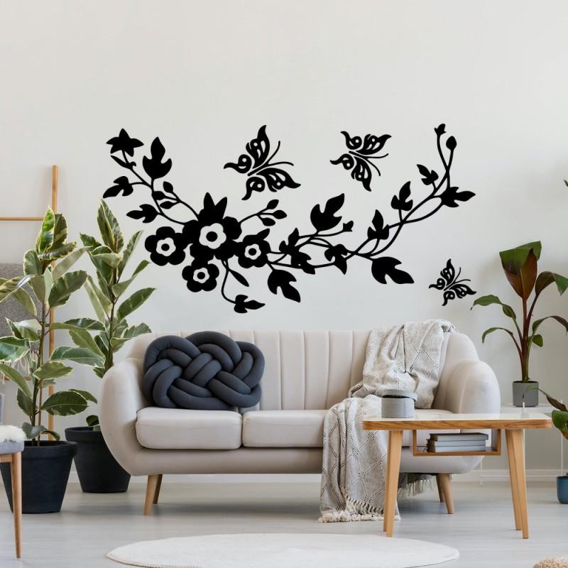 Naklejka na ścianę - Kwiaty i motyle wzór p616