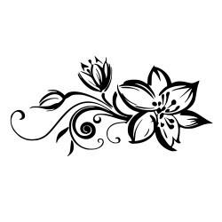 Dekoracyjna naklejka na ścianę przedstawiająca piękną orchideę z kwitnącymi gałęziami i kwiatami.