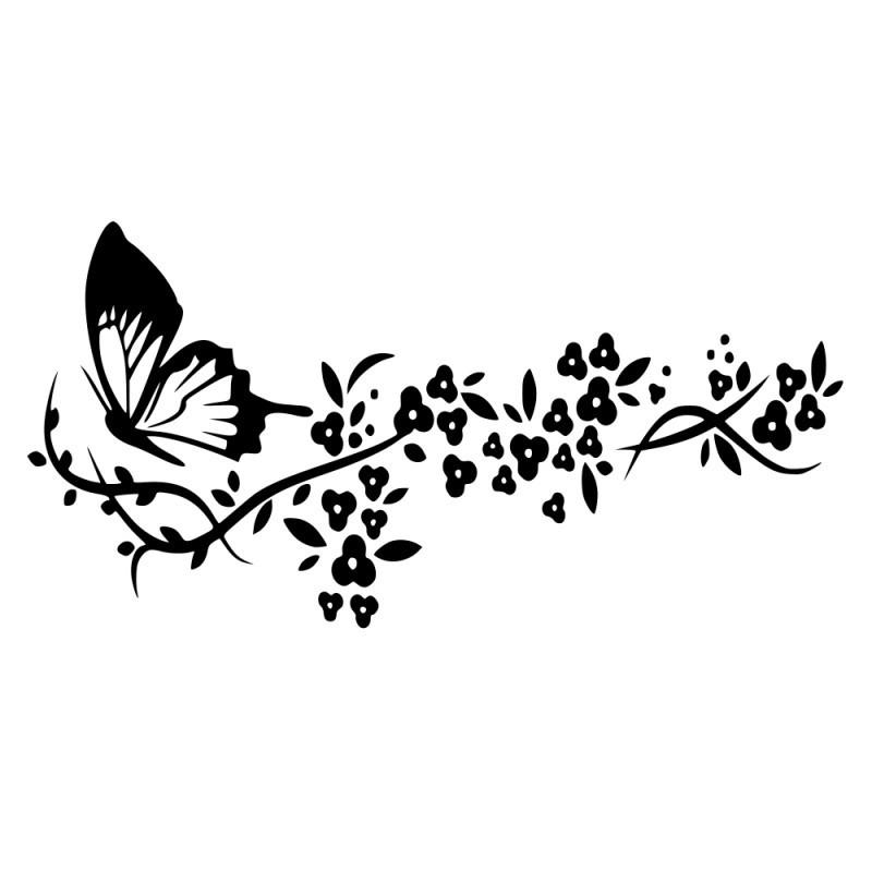 Naklejka na ścianę - motyl, liście, kwiat p619